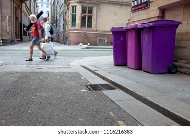 City of Liverpool, United Kingdom, 06.01.2018 Trash cans in the streets.