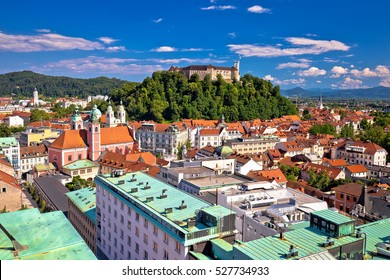 City of Ljubljana center aerial view, capital of Slovenia
