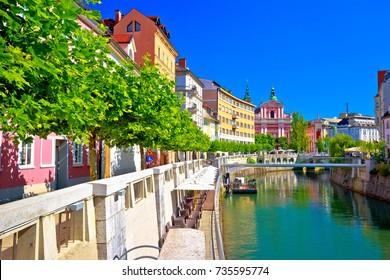 City of Ljubljana historic riverfont view, capital of Slovenia
