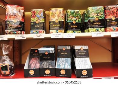 City of Ljubljana, Slovenia (Europe). 3 January 2013. Shelves of fair trade shop selling fair trade and organic coffee and chocolate.