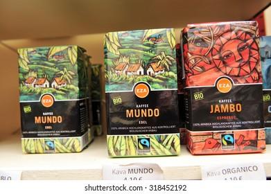 City of Ljubljana, Slovenia (Europe). 3 January 2013. Shelves of fair trade shop selling fair trade and organic coffee.