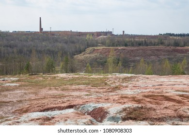 City Lode, Latvia. Old brick factory and clay career. Nature, sun at spring.