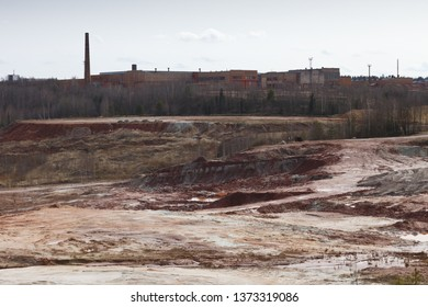 City Lode, Latvia. Old brick factory and clay career near village Janmuiza. Nature, sun at spring.