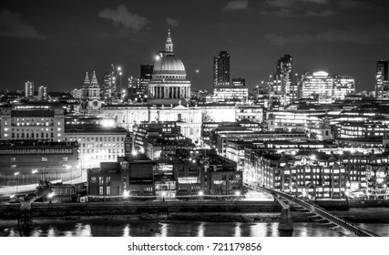 The City of London by night - aerial view from Tate Modern - LONDON / ENGLAND - SEPTEMBER 19, 2016