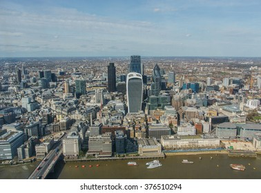 The City of London financial district, aerial view, London, United Kingdom