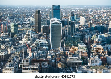 The City of London financial district, aerial view, walkie talkie, London, United Kingdom