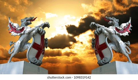 City of London Griffin, symbol of England and London,  on pedestal isolated over dramatic sky background