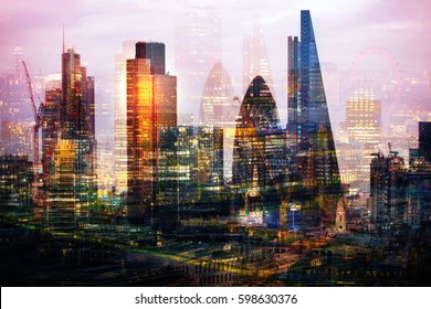 City of London at night. Multiple exposure image includes Walkie-Talkie building, City of London financial aria
