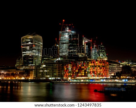 City of London at Night, one of the leading centers of global finance. This view includes Tower 42 Gherkin,Willis Building, Stock Exchange Tower and Lloyd`s of London and Walkie Talkie.