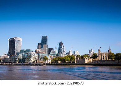 City of London, one of the leading centers of global finance.View includes Tower 42 Gherkin,Willis Building, Stock Exchange Tower Lloyd`s of London and Walkie Talkie