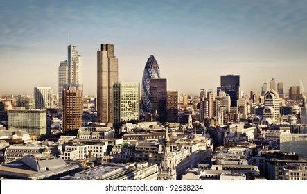 City of London one of the leading centers of global finance and Canary Wharf at the background.
