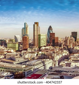 City of London one of the leading centres of global finance. This view includes Tower 42, Gherkin,Willis Building, Stock Exchange Tower, Lloyd`s of London.
