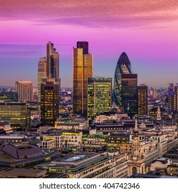 City of London one of the leading centres of global finance.this view includes :Tower 42 Gherkin,Willis Building, Stock Exchange Tower and Lloyd`s of London