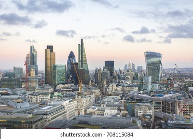 City of London one of the leading centres of global finance. This view from st Paul cathedral includes Tower 42 Gherkin,Willis Building, Stock Exchange Tower and Lloyd`s of London and Canary Wharf