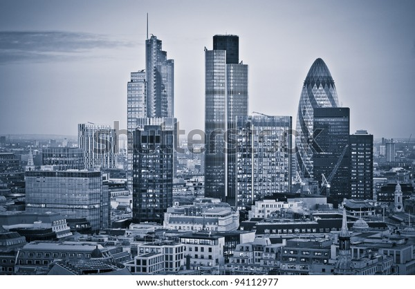 City of London one of the leading centres of global finance.this view includes Tower 42 Gherkin,Willis Building, Stock Exchange Tower and Lloyd`s of London