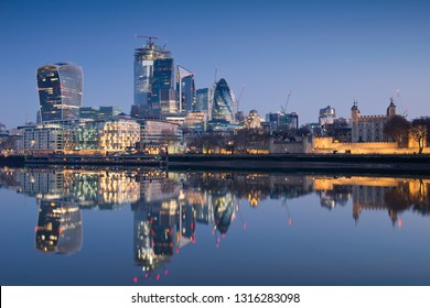 City of London over the Thamesat night, England