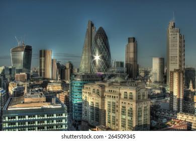 City of London Skyline. Long exposure shot.
