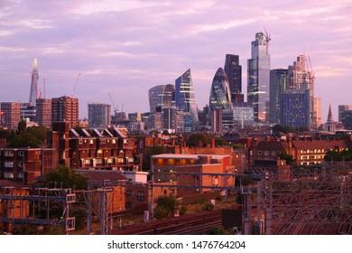 City of London skyline in sunset light.