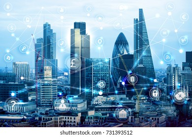 City of London at sunset and business network connections concept illustration with lots of business icons. Technology, transformation and innovation idea.