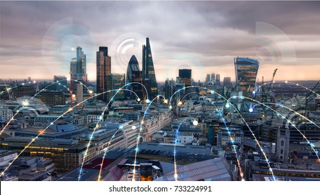 City of London at sunset and business network connections concept illustration. Technology, transformation and innovation idea.