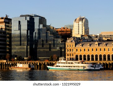 City of London, London / UK - 02/14/2019: MV 'Dutch Master' moored on the River Thames in front of Northern & Shell building (l) and Old Billingsgate (r).