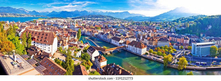 City of Luzern panoramic aerial view, Alps and lakes in Switzerland