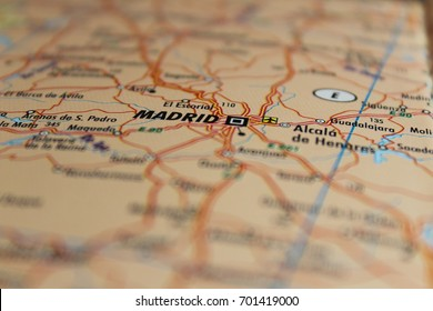 City of Madrid, spain shown on map. Close up and selected focus photography.
