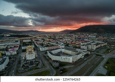 City of Magadan. August, 2016. The downtown in sunset color