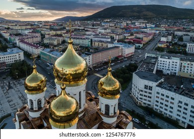 City of Magadan. View of calottes of orthodox church. Russia, August, 2016. Holy Trinity Cathedral is the cathedral of the Magadan diocese of Russian Orthodox Church