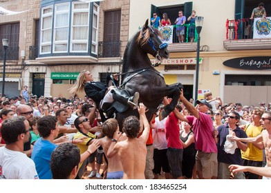 City of Mahon, Menorca, Spain - September 8: Fiestas de La Mare de Deu de Gracia festival on September 8, 2012 in Mahon, Island of Menorca, Balearic Islands, Spain.