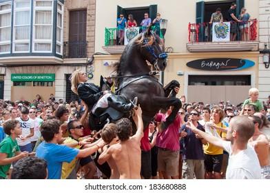 City of Mahon, Menorca, Spain - September 8: Fiestas de La Mare de Deu de Gracia festival on September 8, 2012 in Mahon, Island of Menorca, Balearic Islands, Spain.