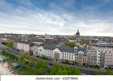 the city of Mainz, Germany, aerial view