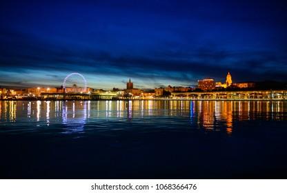 city of Malaga by night