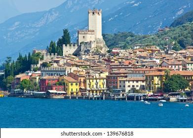 City of Malcesine along with Garda lake, Italy