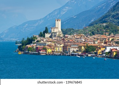 City of Malcesine along with Garda lake, Italy
