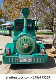 City of Mandurah, Perth, Western Australia - April 10th 2021 : The Spirit of Mandurah (BIG TOOT). The Tourist Fun train Company. It is the ONLY (road licensed) trackless train in Australia.