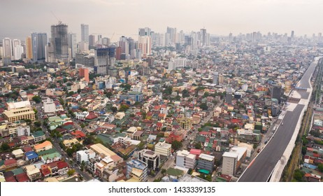 The city of Manila, the capital of the Philippines. Modern metropolis in the morning, top view. New buildings in the city. Panorama of Manila. Skyscrapers and business centers in a big city.