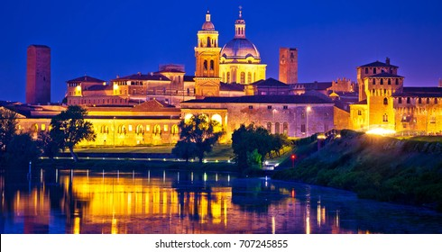 City of Mantova skyline evening view, European capital of culture and UNESCO world heritage site, Lombardy region of Italy