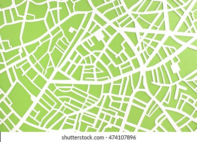 City map structure - hand-cut paper street map