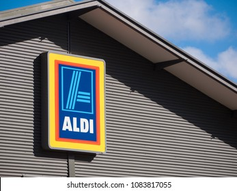 City of Maribyrnong, VIC/Australia-May 5th 2018: Commercial sign of ALDI Store. Aldi Is Australia's third-largest supermarket chain.