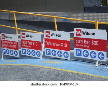City of Melbourne, VIC/Australia-Jan 5th 2018: Wilson car park direction sign with parking charges at entrance.