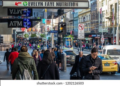City of Melbourne, VIC/Australia-July 19th 2018: people walking in CBD.