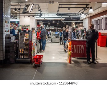 City of Melbourne, VIC/Australia-June 27th 2018: self checkout area in Coles supermarket.