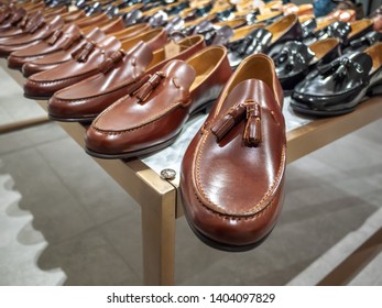 City of Melbourne, VIC/Australia-June 27th 2018: Men's leather boots displayed in  Debenhams department store.