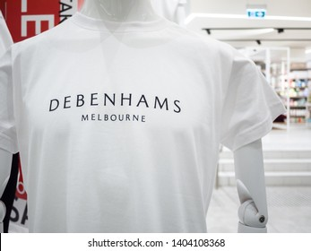 City of Melbourne, VIC/Australia-June 27th 2018: Mannequin dressed in casual T-shirt with logo of Debenhams department store of Melbourne in St Collins Lane shopping centre.