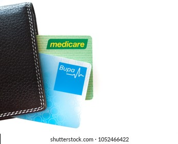 City of Melbourne, VIC/Australia-March 23rd 2018: Medicare card and Bupa private health insurance card in a wallet.