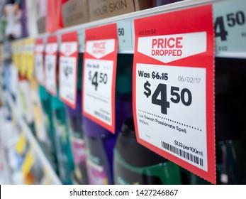 City of Melbourne, VIC/Australia-May 11th 2019: A price tag that shows original and discounted price of a product on a supermarket shelf.