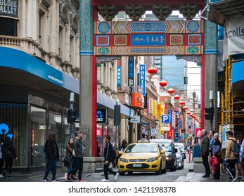 City of Melbourne, VIC/Australia-May 15th 2019: view of Chinatown in CBD. Chinatown is a one-way street, nearly fully occupied with Chinese restaurants and grocery stores.
