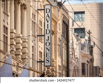 City of Melbourne, VIC/Australia-May 15th 2019: sign of David Jones on the building. David Jones is an Australian upmarket department store.