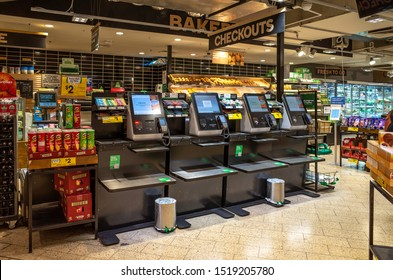 City of Melbourne, VIC/Australia-Sept 30th 2019: some self-checkout machines in a supermarket.